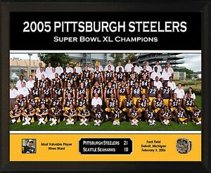 """PITTSBURGH STEELERS Super Bowl XL Champs 8x10"""" Plaque 2005 Team Photo Hines Ward"""