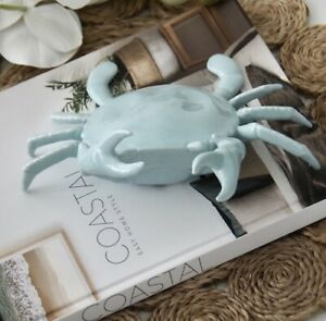 Seafoam Porcelain Decorative Scuttle Crab Hamptons Coastal Home Table Decor
