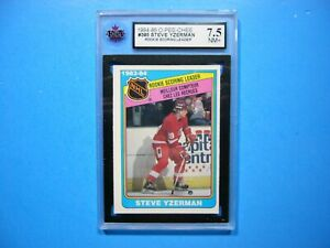 1984/85 O-PEE-CHEE HOCKEY CARD #385 STEVE YZERMAN ROOKIE LEADER KSA 7.5 NM+ OPC