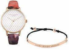 WOMENS DAISY DIXON  WRIST WATCH FREE BRACELET FLORAL ROSE GOLD LEATHER GIFT