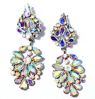 AB Drag Chandelier Earrings Rhinestone Bridal Prom Pageant Crystal 2.9 inch