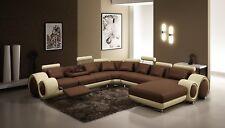 Sofá de Esquina Cuero Tapicería Asiento Conjunto Muebles para Salón en Forma U