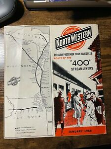 """Chicago and Northwestern Railway """"400 Streamliners""""  Public Timetable Jan. 1968"""
