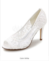 Kitten Heel Pumps Lace Mother Shoes Peep Toe Slip On Wedding Shoes NEW 7.5,CN 38