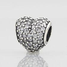 European Pandora Silver Charm pave heart, clear cz