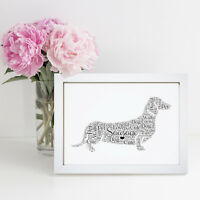 Personalised Word Wall Art Sausage Dog Dachshund Pet Picture Print Frame Gift