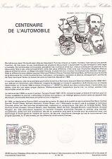 Document Philatélique Timbre 1er Jour : 06/10/ 1984 - Automobile Centenaire