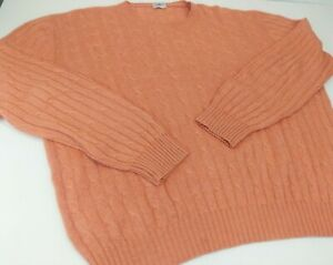 Superb AVON CELLI Cashmere Silk Crew Cable Knit Sweater ITALY 58 3XL Apricot