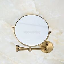 Antique Double Sided Bathroom Folding Brass Shave Makeup Mirror Wall Magnifying