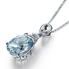 925 Silver Chain Necklace Waterdrop Aquamarine Shape Pendant Engagement Jewelry