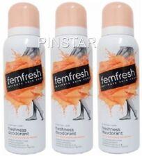 3 X 125ml Femfresh Intimate Skin Care Hygiene Deodorant Spray Bottles