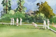Lawn Bowls - Lawn Bowlers on the Green Original Watercolor Image 6.5 x 9.5 ""