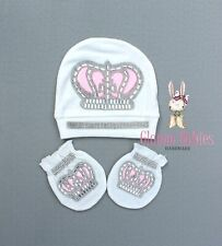 Newborn Baby Girl Comfy white Cap Beanie Hat and mittens Baby shower gift NEW