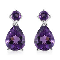 925 Silver Pear Purple Amethyst Drop Dangle Earrings Women Jewelry For Gift