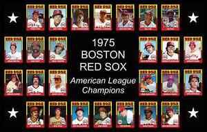 1975 BOSTON RED SOX Baseball Card Complete Set POSTER Wall Art Man Cave Decor 75