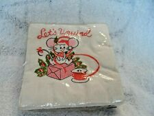 Vintage Lets unwind Christmas mouse package of 2 ply 30 paper napkins 10