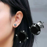 Women Sparkling Round Black CZ Crystal Solid 925 Sterling Silver Stud Earrings