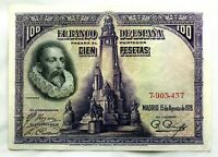 Spain-Billete. Cervantes. 100 Pesetas. 1928. Sin serie. EBC/XF. Escaso