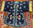 Stunning Antique Chinese Silk Embroidery Robe Deep Blue Colors Great Condition