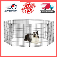 30 Inch Foldable Metal Exercise Dog Pen and Pet Playpen, 8 Connected Panels, New