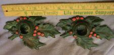 Antique 1921 Cast Iron Holly Leaf Candle Holders (2) Artist Signed L V L