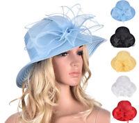 A323 Women Dress Church Wedding Kentucky Derby Floral Sun Bucket Tea Party Hat