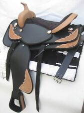"""""""New"""" western synthetic saddle BLACK size 17"""" with attractive accessories !!!"""