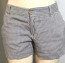 CYNTHIA ROWLEY Shorts Womens Size 4 LINEN Pinstripe Blue White Beach Casual 358H