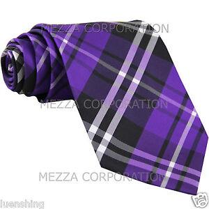 New Men's Vesuvio Napoli plaid checkered Neck Tie Necktie Party Prom Purple