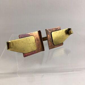 Copper Gold Modernist Abstract Cufflinks Square Sculpture Brutalist Large VTG H1