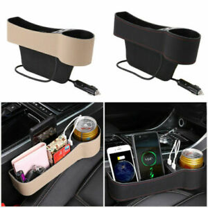 Right/ Left Side Car Accessories Seat Slit Pocket Storage Organizer Box USB Port