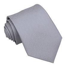 DQT Woven Greek Key Patterned Silver Formal Wedding Mens Classic Tie