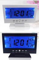 Voice Control Timer Calendar LCD Display Digital Alarm Desk Clock Weather Monito