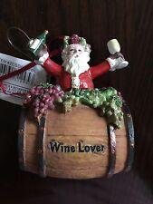NEW Wine Lover Santa & Barrel Perfect Vintage Christmas Ornament Kurt Adler NWT