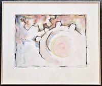 Aquarell Gouache modern, Zahnräder-Motiv, sig. Feldmeier, Alu-Rahmen Nielsen
