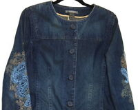 WOMEN BLUE JEAN JACKET SIZE L/XL  EMBROIDERED SLEEVES WORN LOOK BY LIZ CLAIBORNE