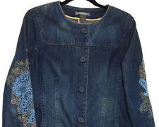WOMEN BLUE JEAN COAT SIZE L/XL  EMBROIDERED SLEEVES WORN LOOK BY LIZ CLAIBORNE