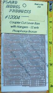 Plano HO #12004 Coupler Cut Lever Bars w/ Hangers (12 Sets) Phos. Bronze