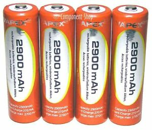 Vapex 4 x AA 2900mAh NiMH rechargeable batteries with case