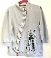 "Rare Official Cirque Du Soleil ""KA"" Angled Ruffled Top Jacket Gray Women Size XL"