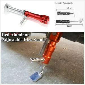 Motorcycle Red Aluminum Alloy Length Adjustable Side Stand Kickstand Kick Stand