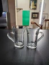 2 Vintage Clear Glass Handle Cup Drinking Mugs Cups Glass ~ 4.5'' T ~ 2 7/8''W