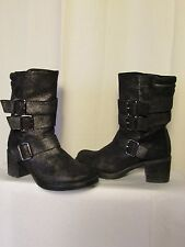 boots/bottines UNISA croûte de cuir noir métallisé 36