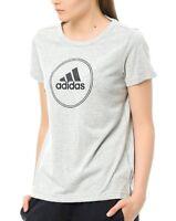 New Adidas Originals Performance Logo Top T-Shirt - Grey - Ladies Womens Girls