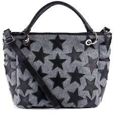 Handtasche STARS Ledertasche Schultertasche Sternen Damen Tasche Filz Leder grau