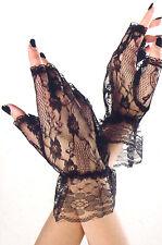 Music Legs 428 Lace Fingerless Gloves Wrist Madonna Gothic Victorian O/S Black