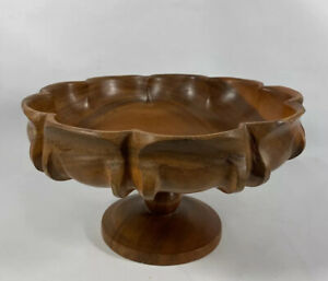 Vintage Fruit Hand Carved Wooden Pedestal Centerpiece Bowl Walnut