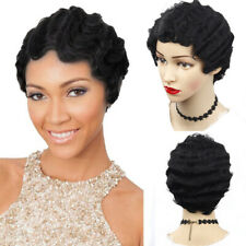 Vintage Short Curly Hair Wigs Water Wave Synthetic Full Head Nuna Wigs Cosplay