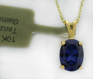 TANZANITE 1.56 Cts PENDANT 10k YELLOW GOLD ** New With Tag **