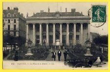 cpa NANTES en 1912 (Loire Atlantique) La place de la BOURSE Charette à Bras